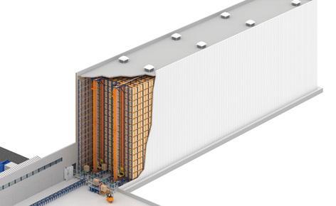 Um armazém automático autoportante de 20 m de altura para a empresa farmacêutica Novamed