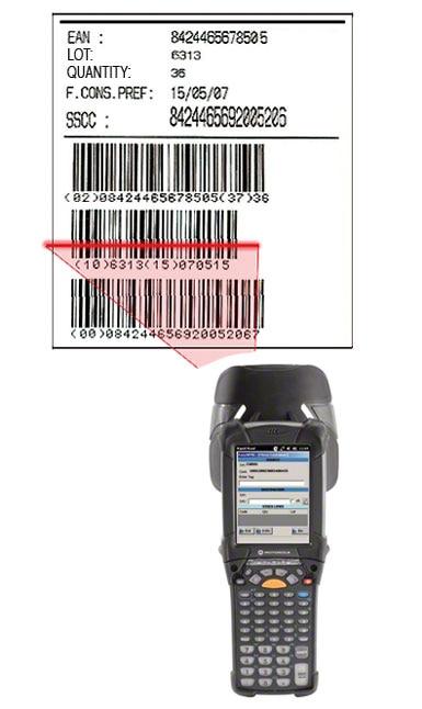 Exemplo de uma etiqueta com código de barras EAN-128 em que se identifica o palete, o produto que contém e as características do mesmo.