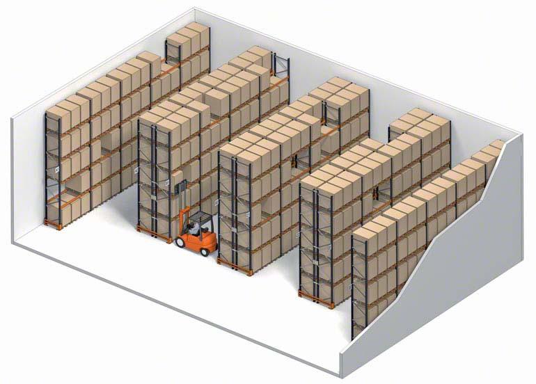 Sistema de armazenamento convencional com acesso direto ao palete.