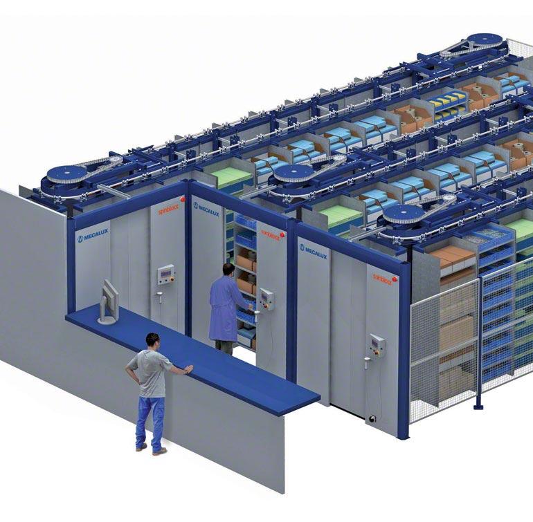 Sistema de armazenagem com carrossel horizontal