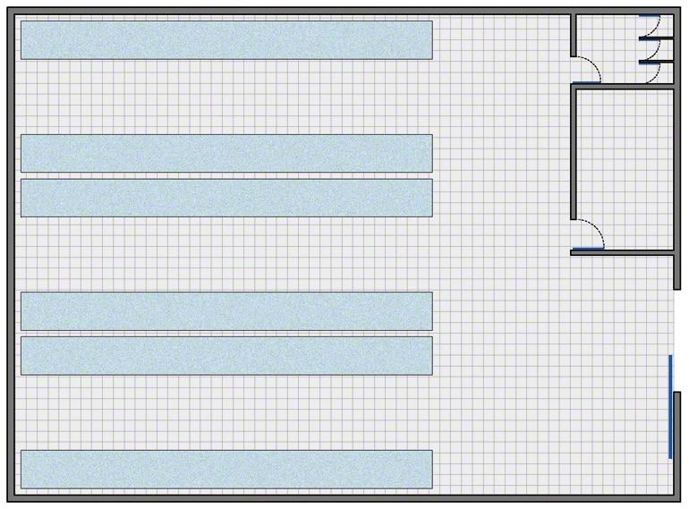 Armazém com a configuração mais simples: zona de armazenagem, zona de gestão, vestiário e banheiro para funcionários.