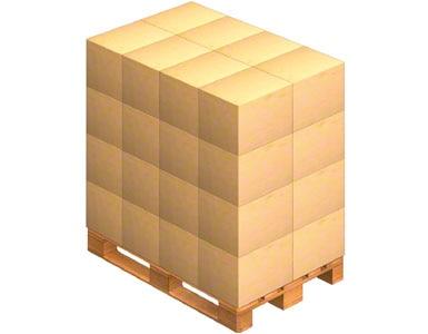 Um palete sobre o qual são colocadas as caixas de embalagens enviadas pelo fornecedor. O fornecedor também pode enviar a mercadoria já paletizada (sobre um palete).