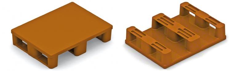 Este é o meio palete de plástico. É necessário ter as mesmas precauções que se tem com os paletes de madeira. É preciso ter cuidado com a resistência da base inferior.