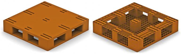 Este modelo é muito parecido com um palete de madeira do tipo 2, com base perimetral, portanto é necessário considerar as mesmas restrições existentes em relação àqueles.