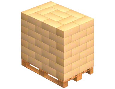Carga de um palete com caixas entrelaçadas