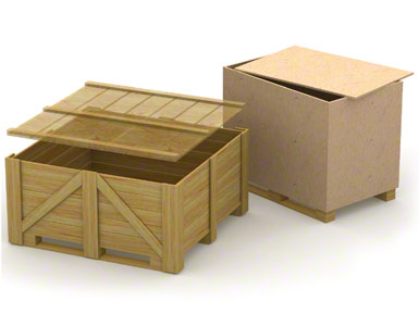 A base inferior dos contentores de madeira pode ser frágil e pouco resistente, pois costuma ser utilizada para um único envio, sem retorno.