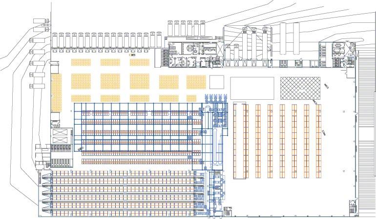 Esquema das distintas seções de um armazém central