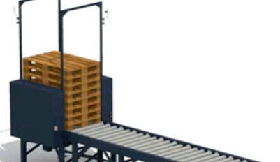 Empilhar ou liberar paletes extras em um circuito de transportador industrial.