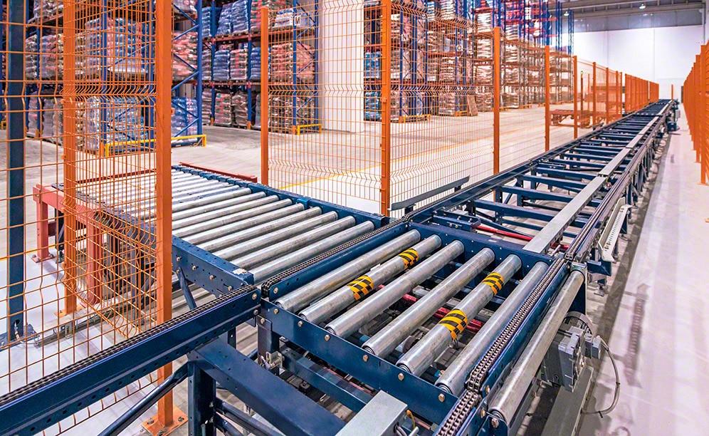 Alto desempenho e manuseio automatizado da mercadoria com transportadores para paletes