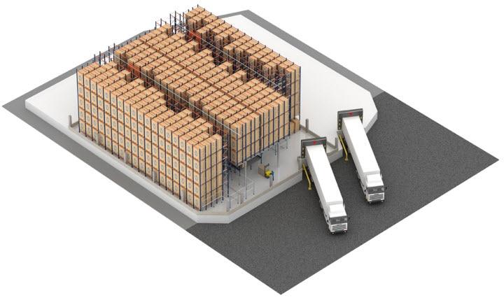 Sistema Pallet Shuttle automático com transelevador no armazém da Pastelaria e Confeitaria Rolo