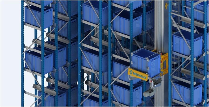 Um armazém automático miniload no centro logístico da Clics na Bélgica