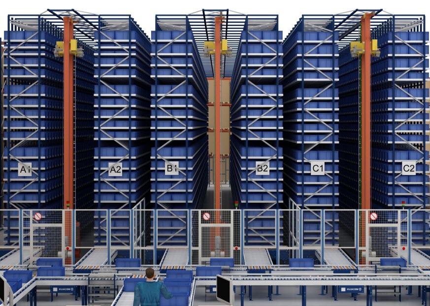 O armazém automático de caixas da Cárnicas Medina em Buñol (Valência)