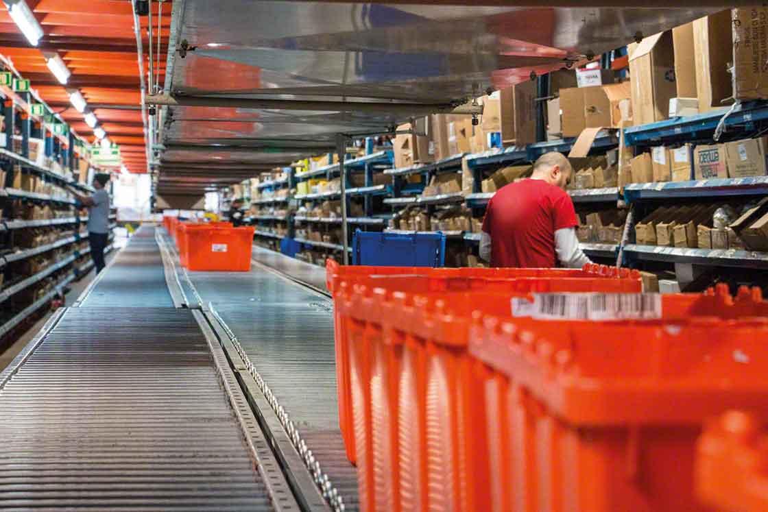 Os armazéns de peças de reposição podem utilizar estantes para picking e transportadores para as referências com rotatividade mais alta